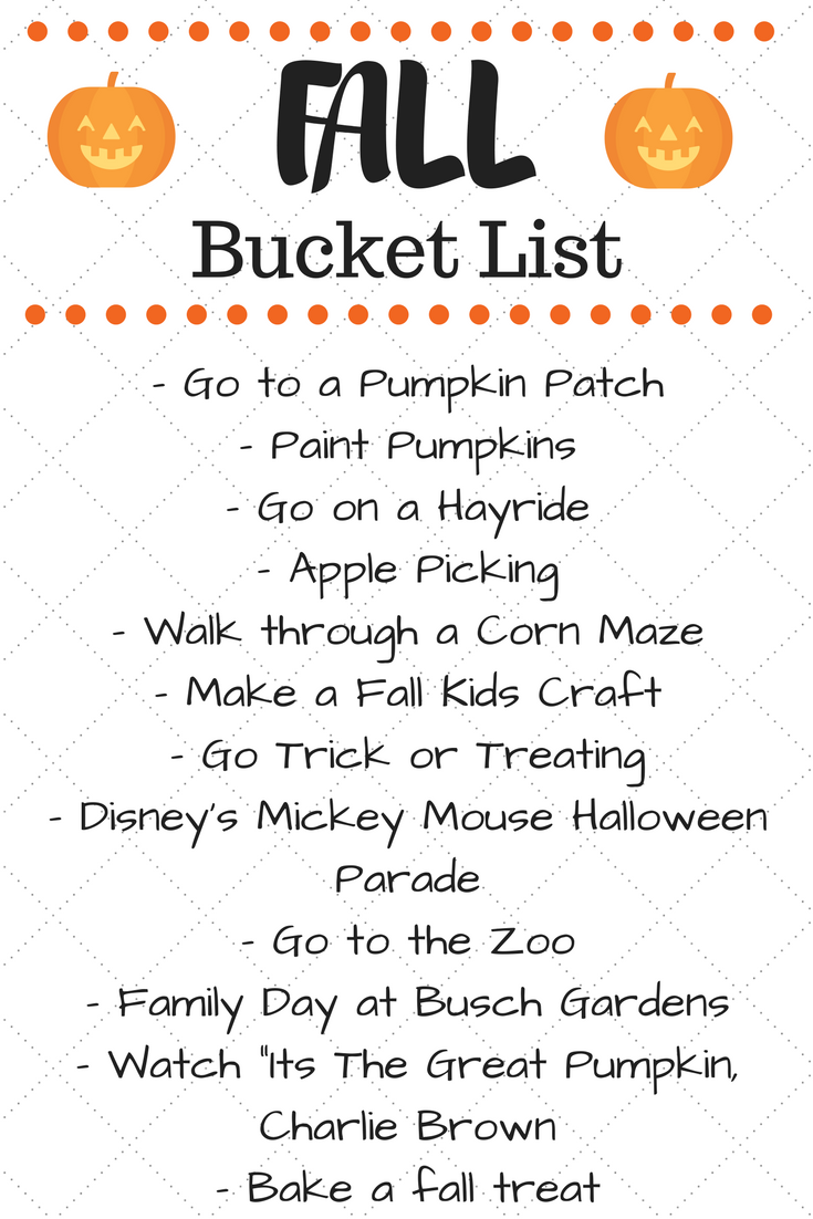 Family Friendly Fall Bucket List