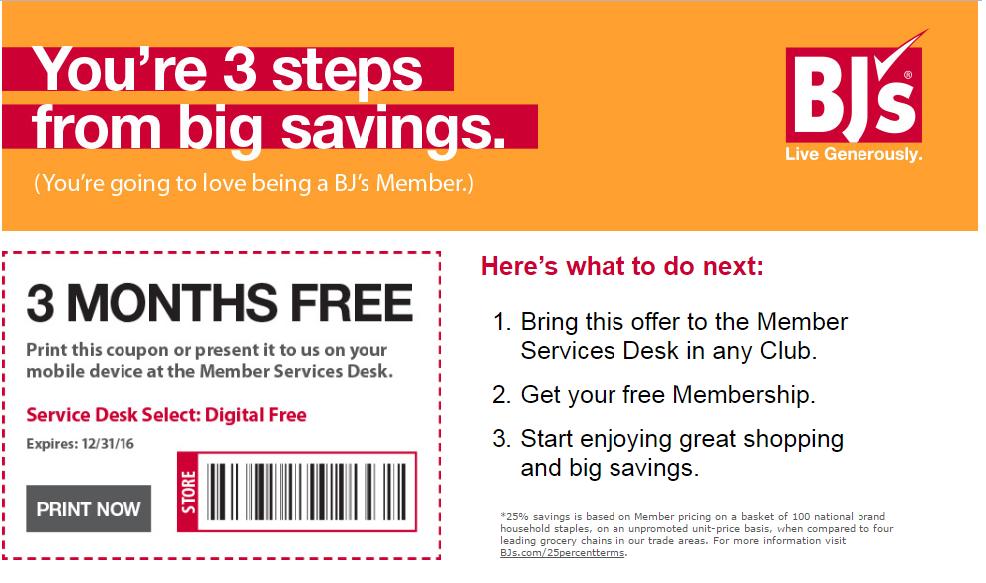 BJ's Wholesale Free 3-Month Membership Voucher