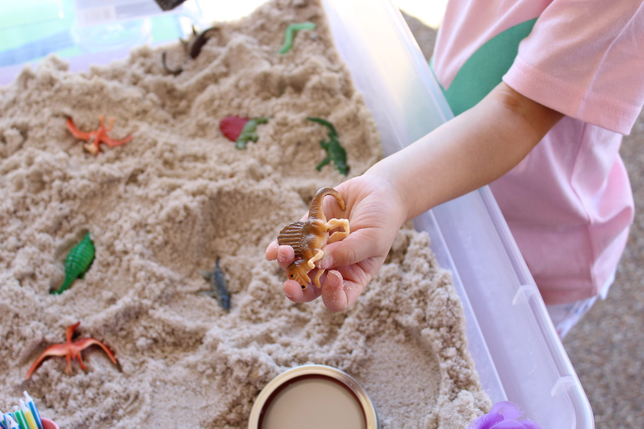 Dinosaur Excavation Sensory Bin for Toddlers