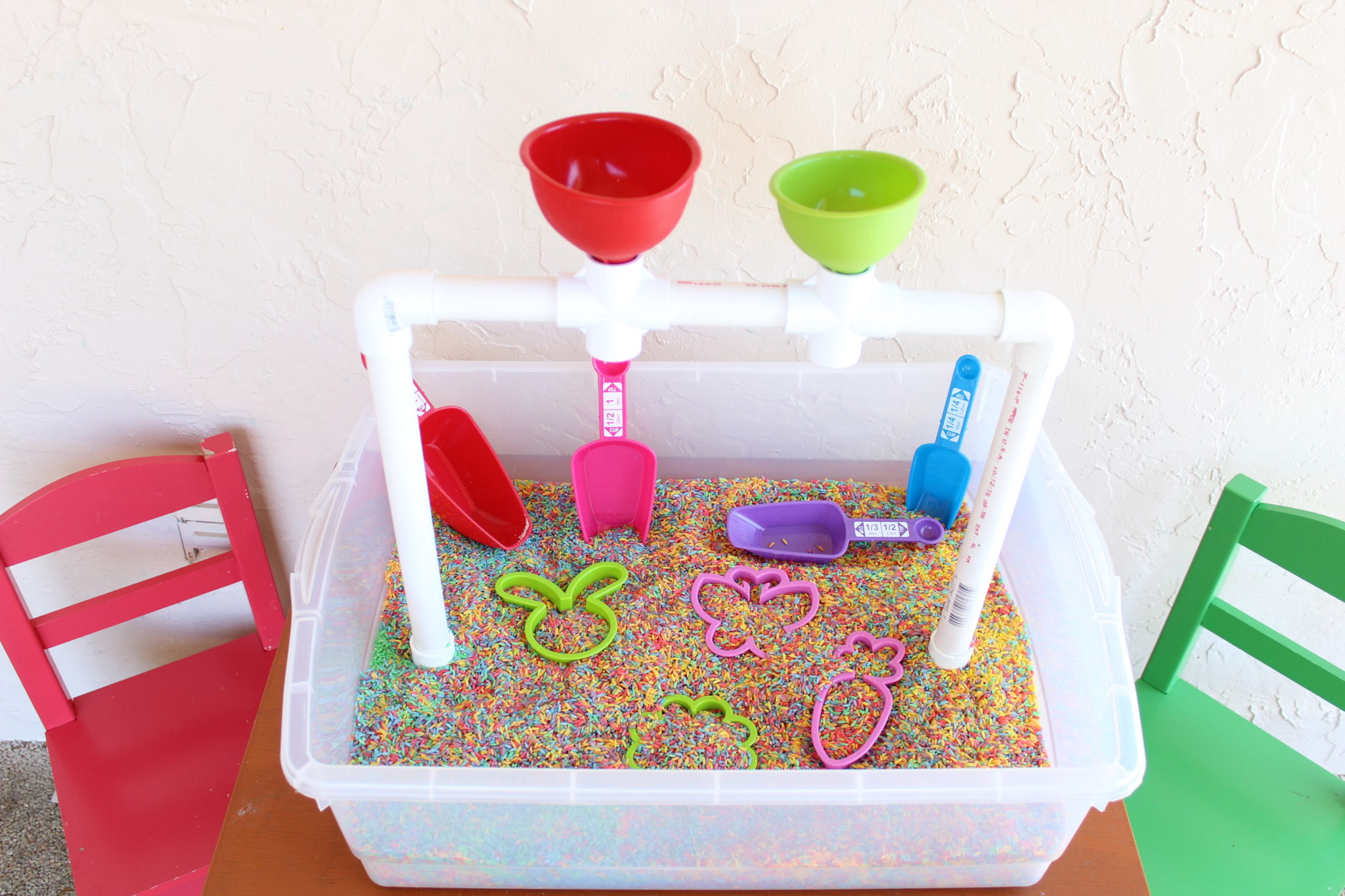 Rainbow Rice Sensory Bin for Toddlers