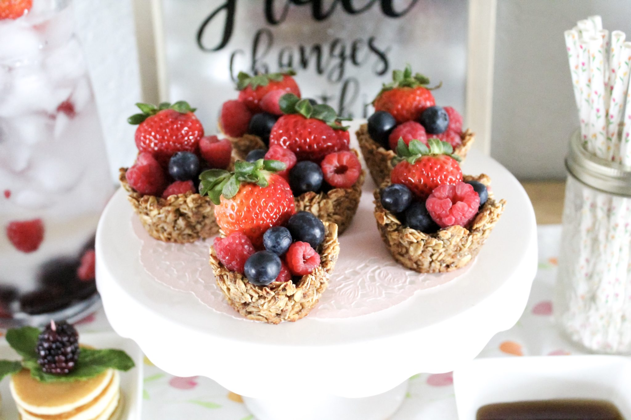 Mother's Day Brunch Menu and Tablescape with Mini Pancake Stacks and Fresh Fruit Oatmeal cups