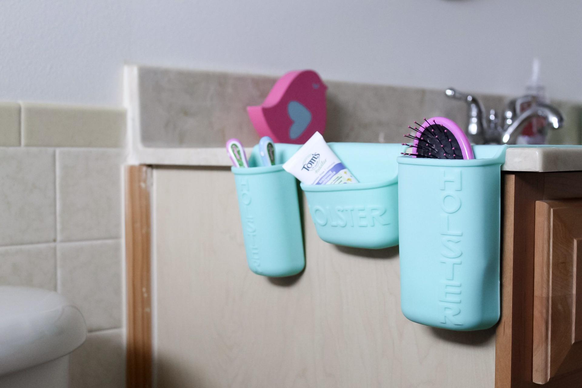 3 Simple Ways to Organize Your Home with Holster Brand, home organization, kitchen organization, storage necessities, bathroom storage, vanity organization