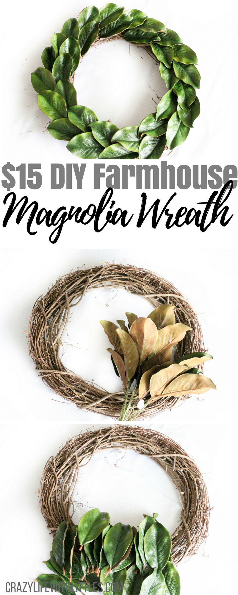 #farmhousedecor #magnoliawreath $15 Farmhouse DIY Magnolia Wreath, farmhouse decor, modern farmhouse, fixer upper, magnolia wreath hobby lobby