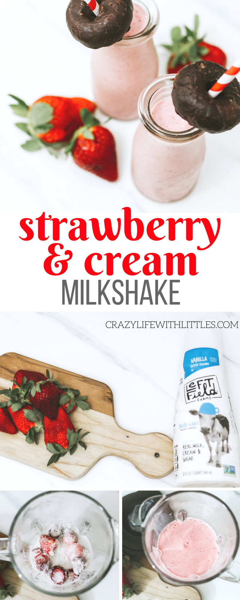#AD #LeftFieldFarms Thick, creamy Strawberry and Cream Milkshake made with non-GMO vanilla coffee creamer instead of ice cream. Learn more srcset=