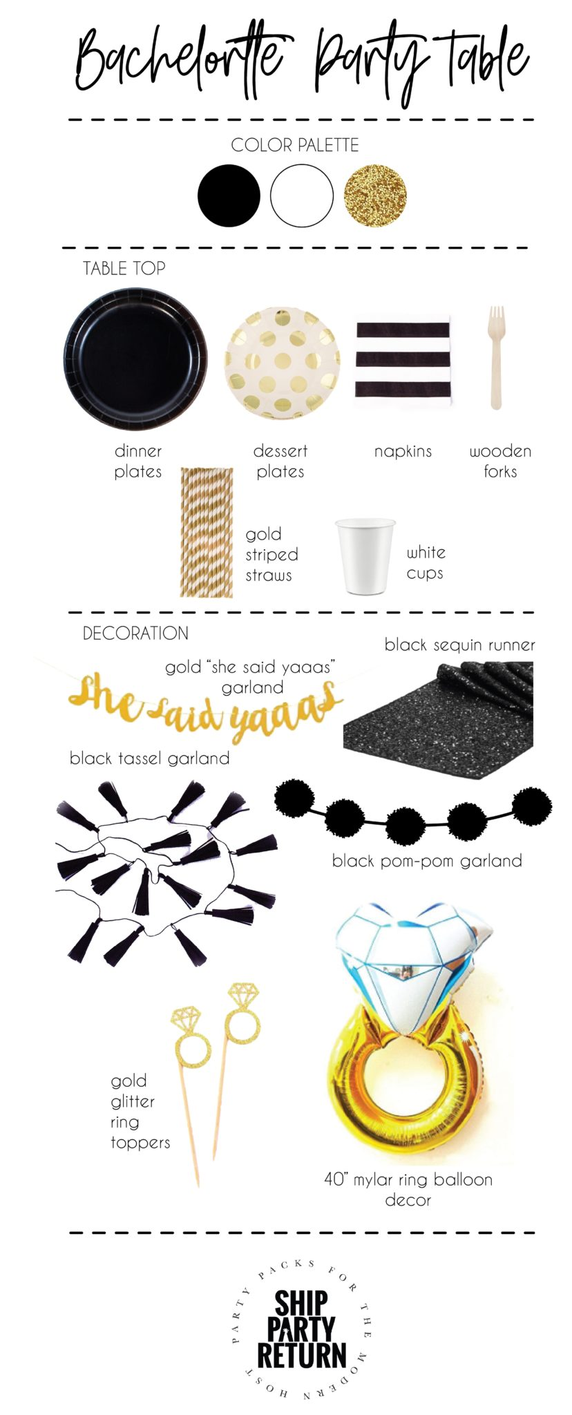 Bachelorette Party Mood Board, Black white and gold party decor, ship party return