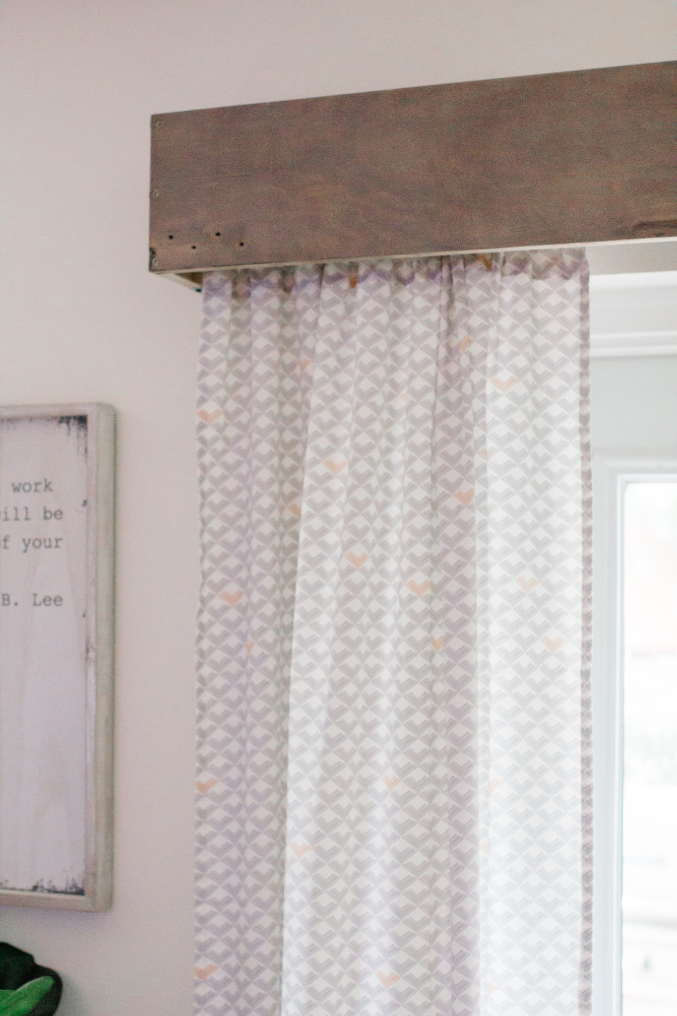 DIY Wood Valance, wood cornice, living room refresh on a budget, update living space on a budget, custom modern curtains
