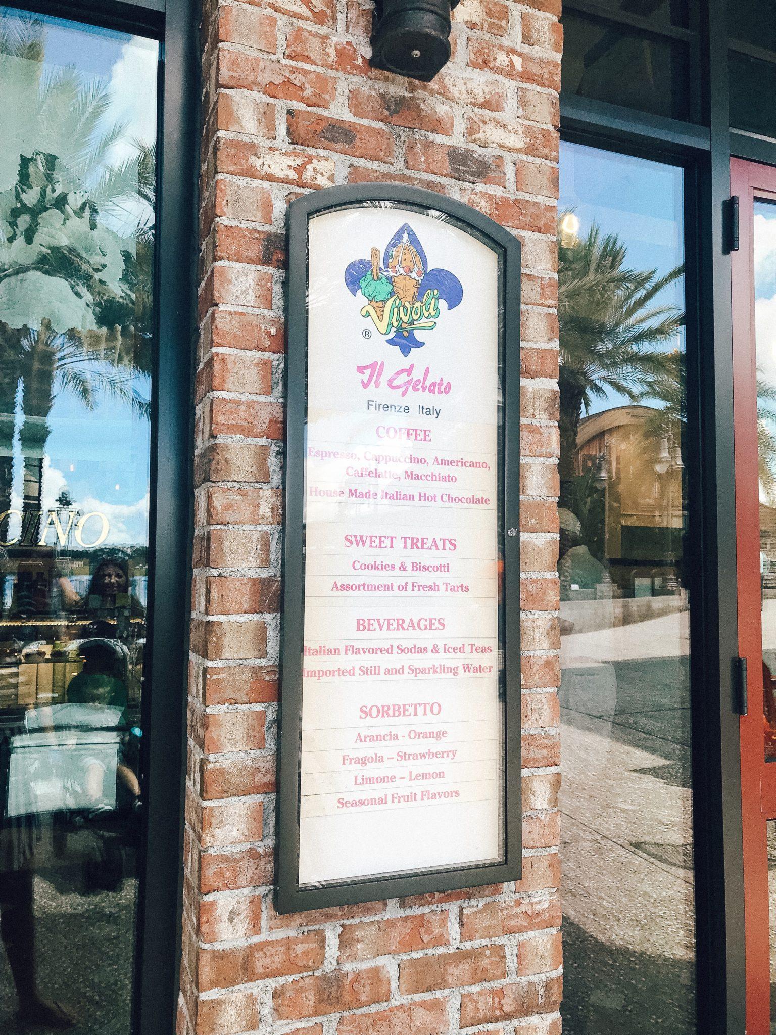 #DisneySprings Vivoli Il Gelato, Disney Springs restaurants and dining, disney world orlando for toddlers, Tampa parenting blog mothers blog motherhood blog Florida travel blogger travel influencer healthy mom blogger spring hill florida lifestyle parenting blog best mom blog 2018