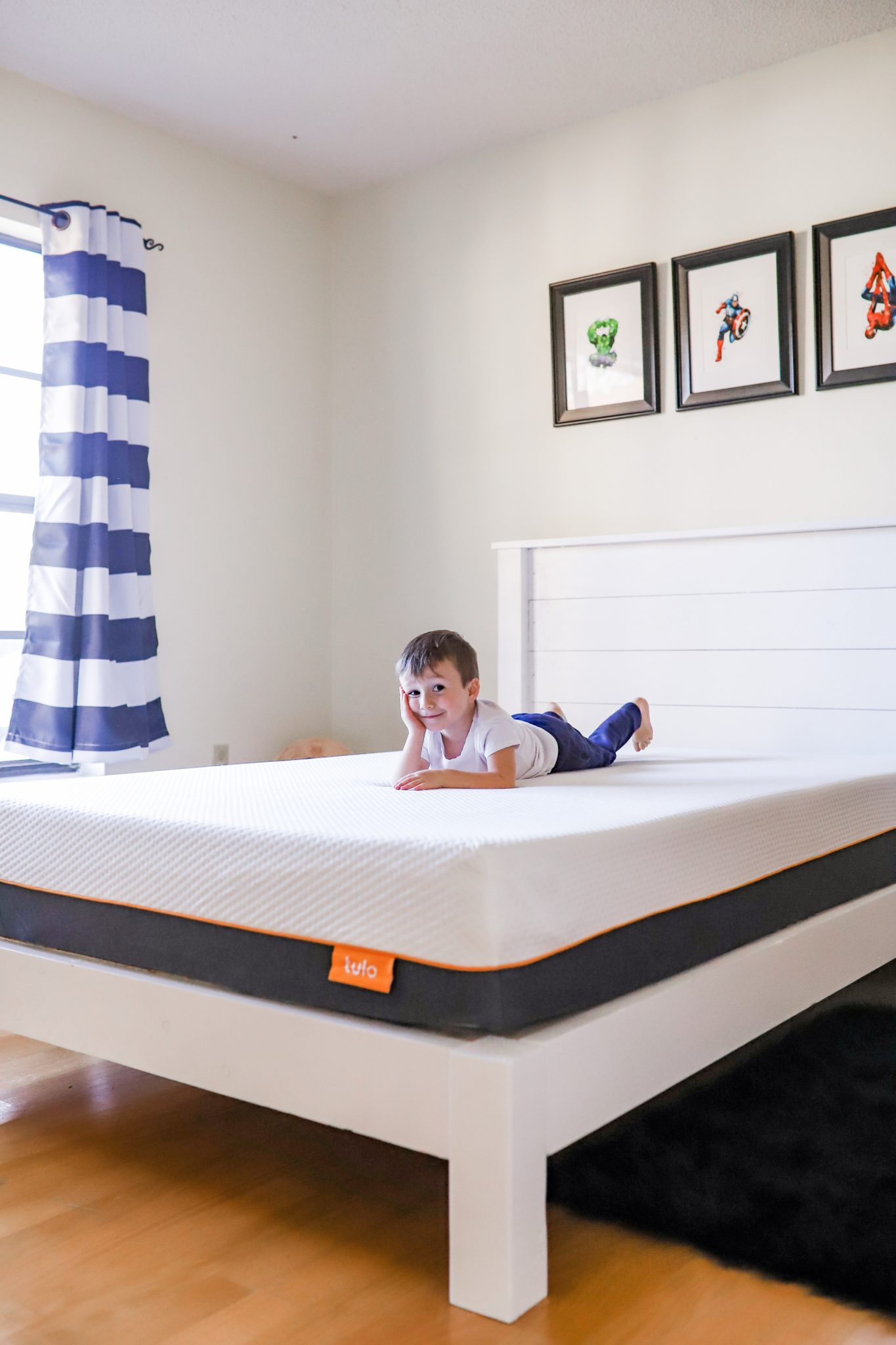 A modern superhero boy's bedroom featuring the Tulo Soft mattress from Mattress Firm - Tampa Lifestyle & Mom Blogger, Crazy Life with Littles