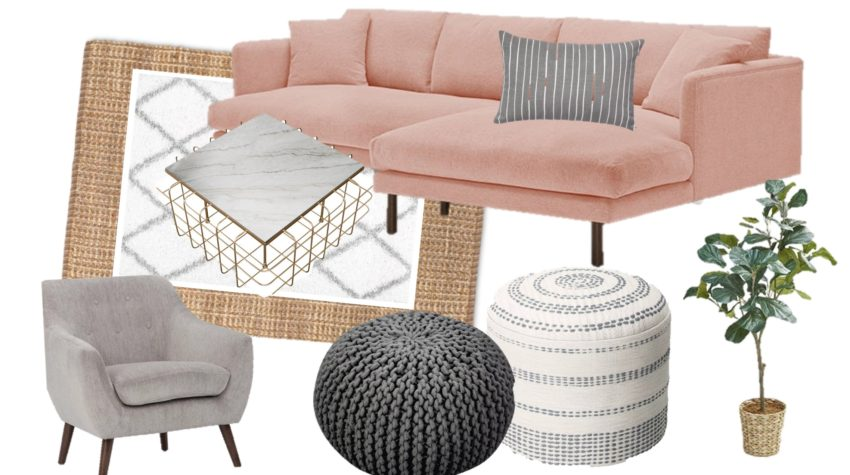 Modern Farmhouse Living Room with pink sectional - Mood Board