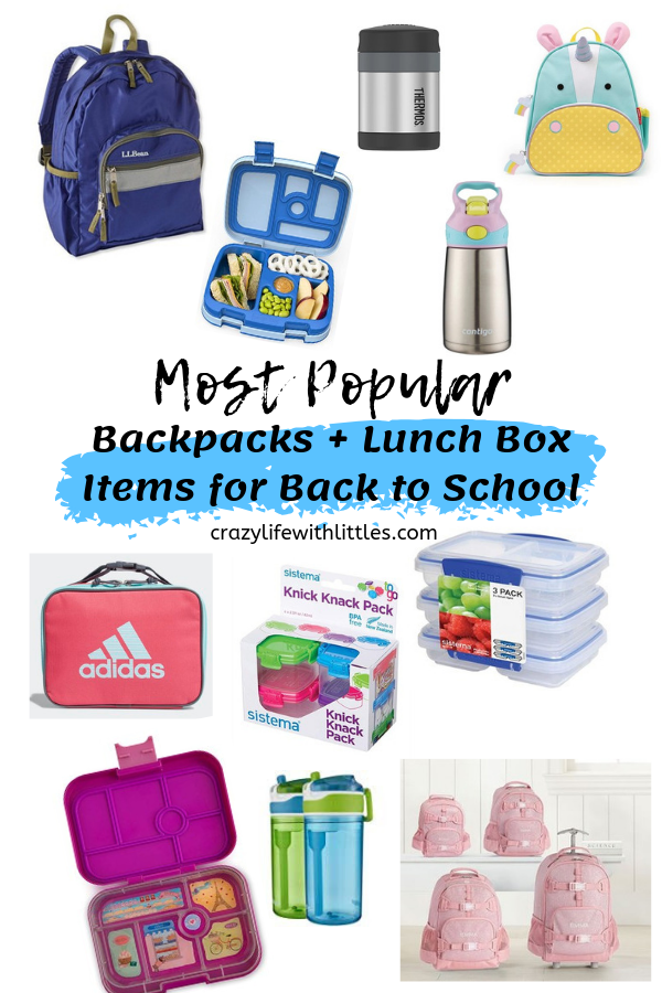 Tampa Lifestyle and Mom Blogger Crazy Life with Littles shares the most popular back to school items for kids including backpacks, lunch bags, insulated bento storage and cups