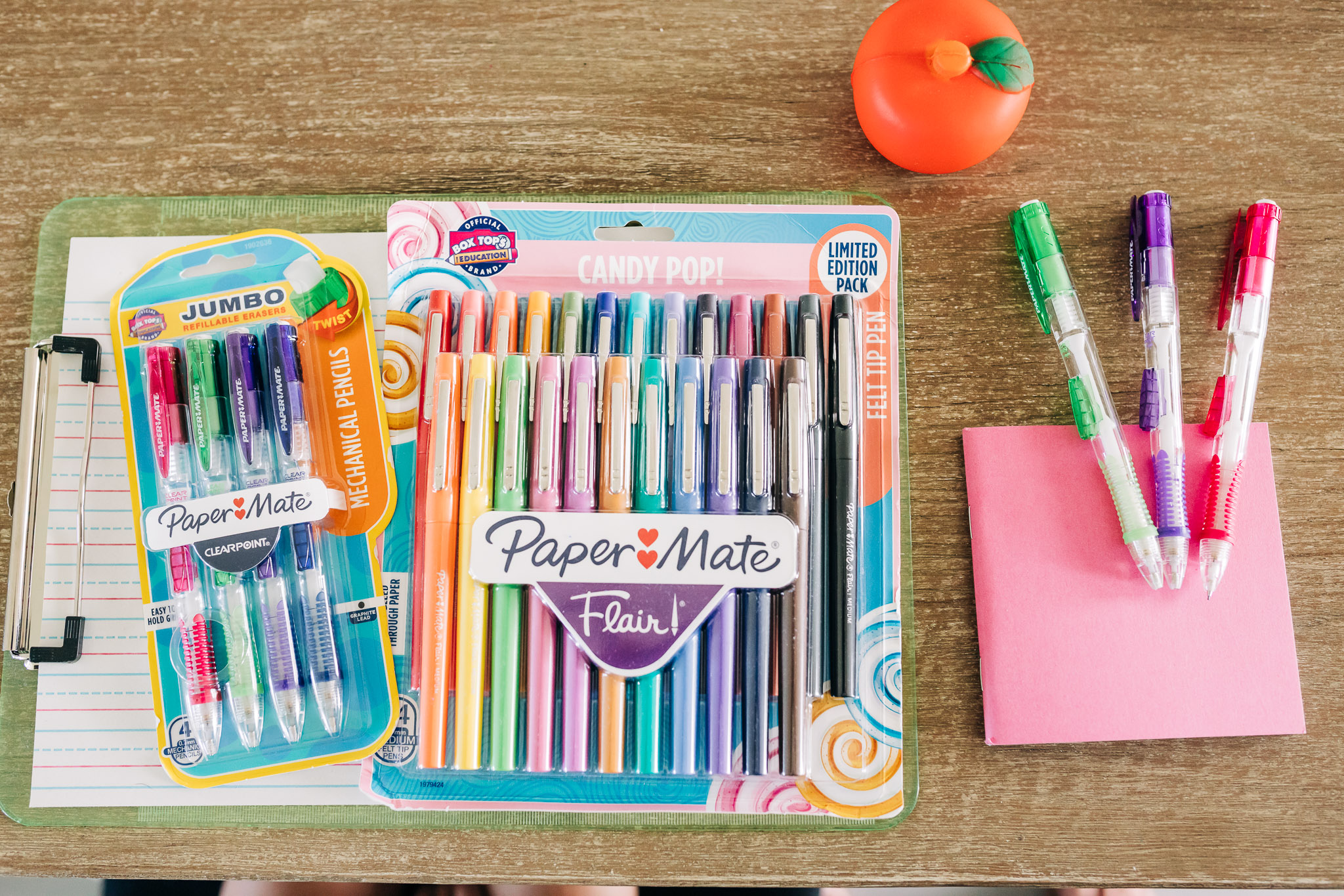 Back to school supplies, pens and pencils, PaperMate partners with Box Tops for Education #ad #PaperMatePledge