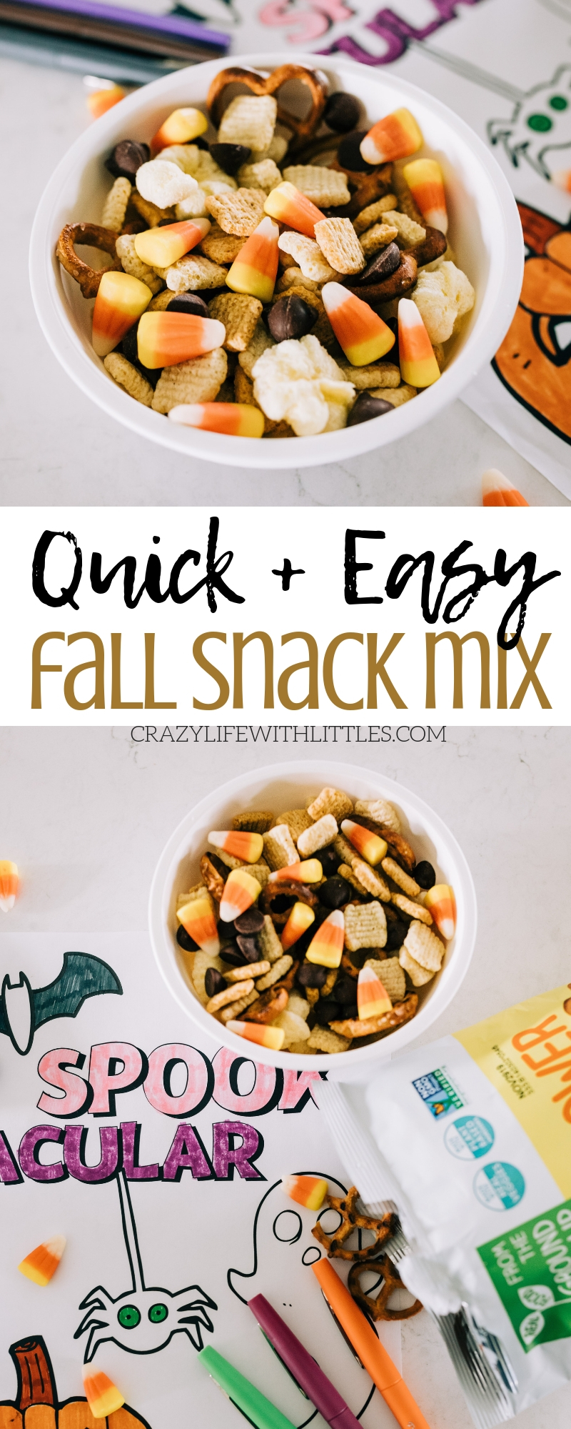 Quick and Easy Fall Snack Mix for Kids, #fallsnackmix #harvestmix #candycorn Celebrate Halloween and Fall with this snack mix made with better ingredients and less sugar than the typical mix.