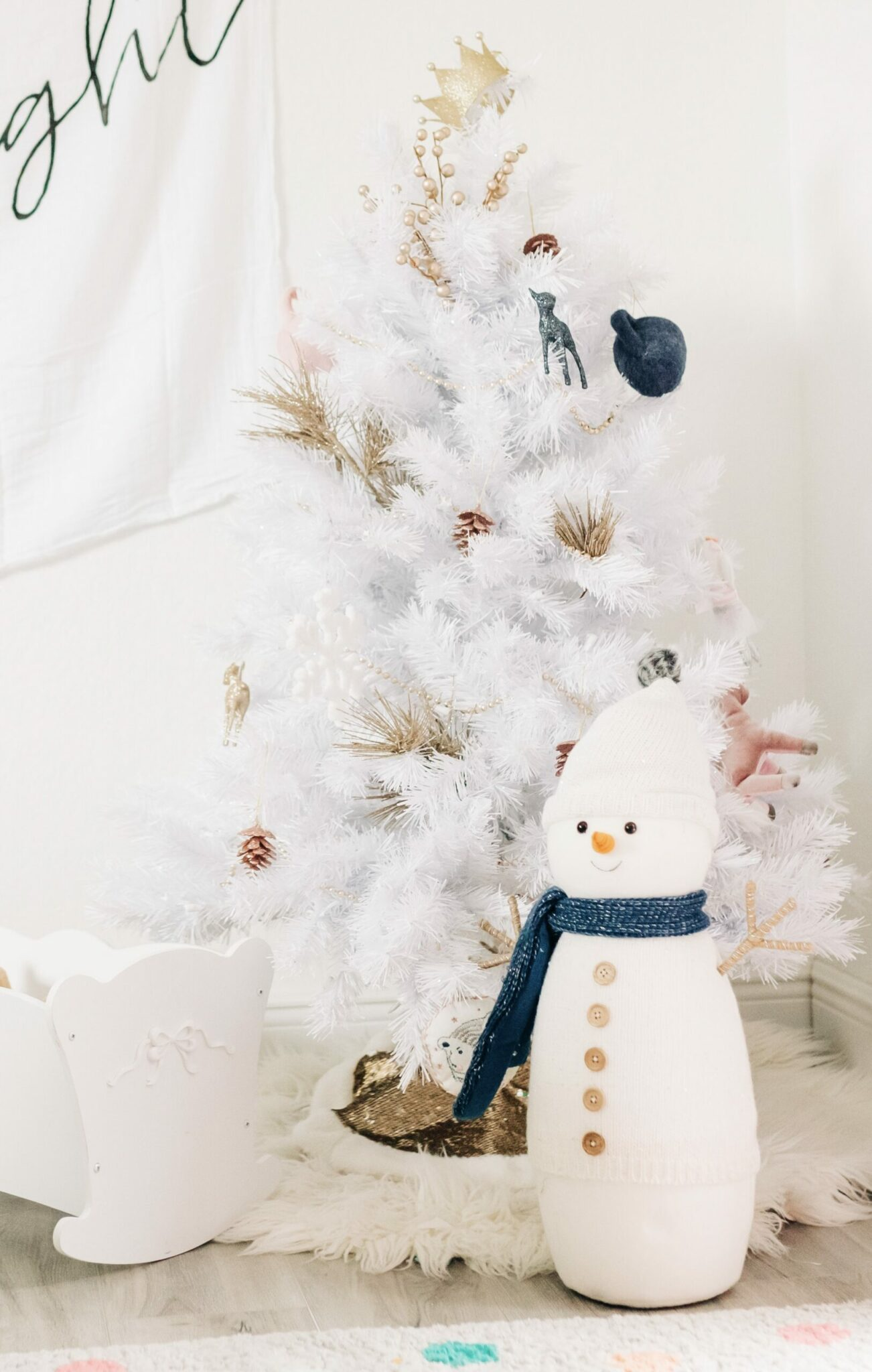 Chic White Christmas Decor for Little Girls bedroom, white holiday decor, Treetopia 4' white tree prelit, Modern Burlap Muslin swaddle blankets hung as
