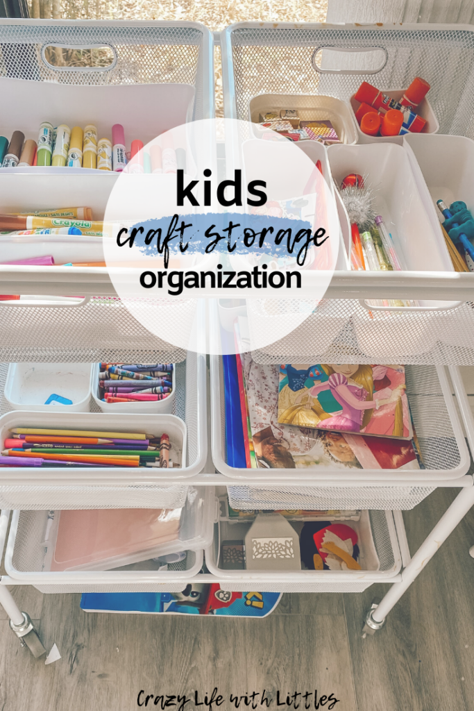 Kids Craft Supply Organization with a Recollections metal rolling cart and individual baskets for crayons, markers, stickers, paper, etc. #organization #kidsorganization #craftsupplies