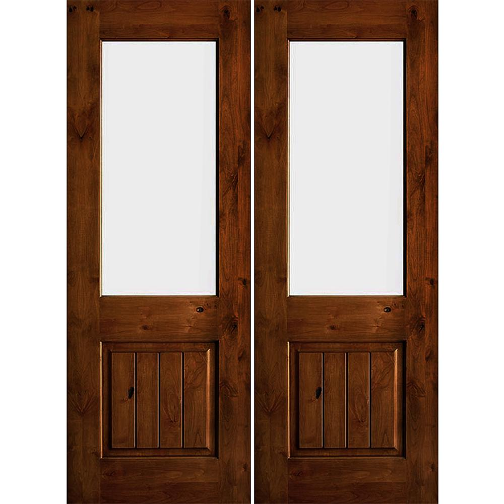 Rustic Knotty Alder Wood Clear Half-Lite Red Chestnut Stain/VG Right Active Double Prehung Front Door