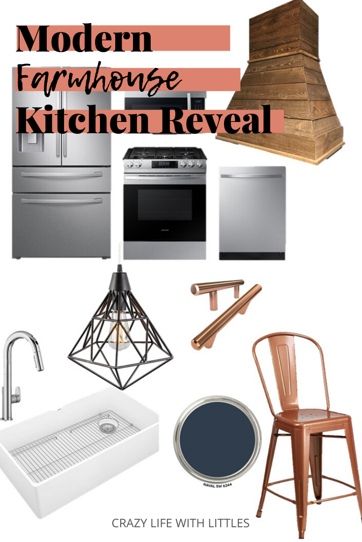 #modernfarmhouse #kitchendesign #kitchenmakeover American Standard Beale Faucet, American Standard Apron Front Sink, Varaluz Pendant lights, Samsung stainless steel appliances, DIY farmhouse hood range, copper kitchen accessories, Sherwin Williams 2020 Color SW Naval