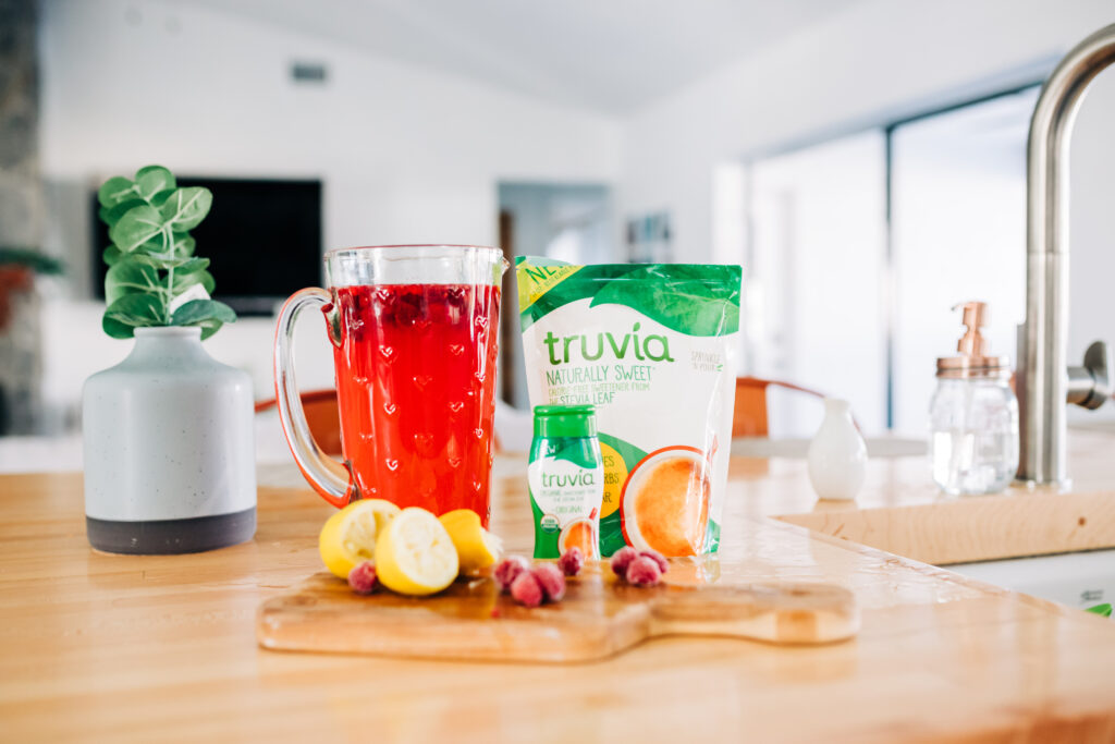celebrating Valentine's Day with family traditions including a Sparkling Raspberry Lemonade made with Truvia zero calorie sweetener. #lowsugar #valentinesday #mocktail #ad
