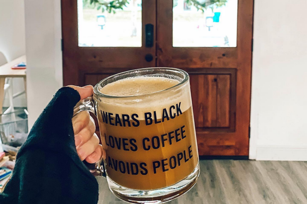Funny Etsy Mugs, Wears Black Loves Coffee Avoids People