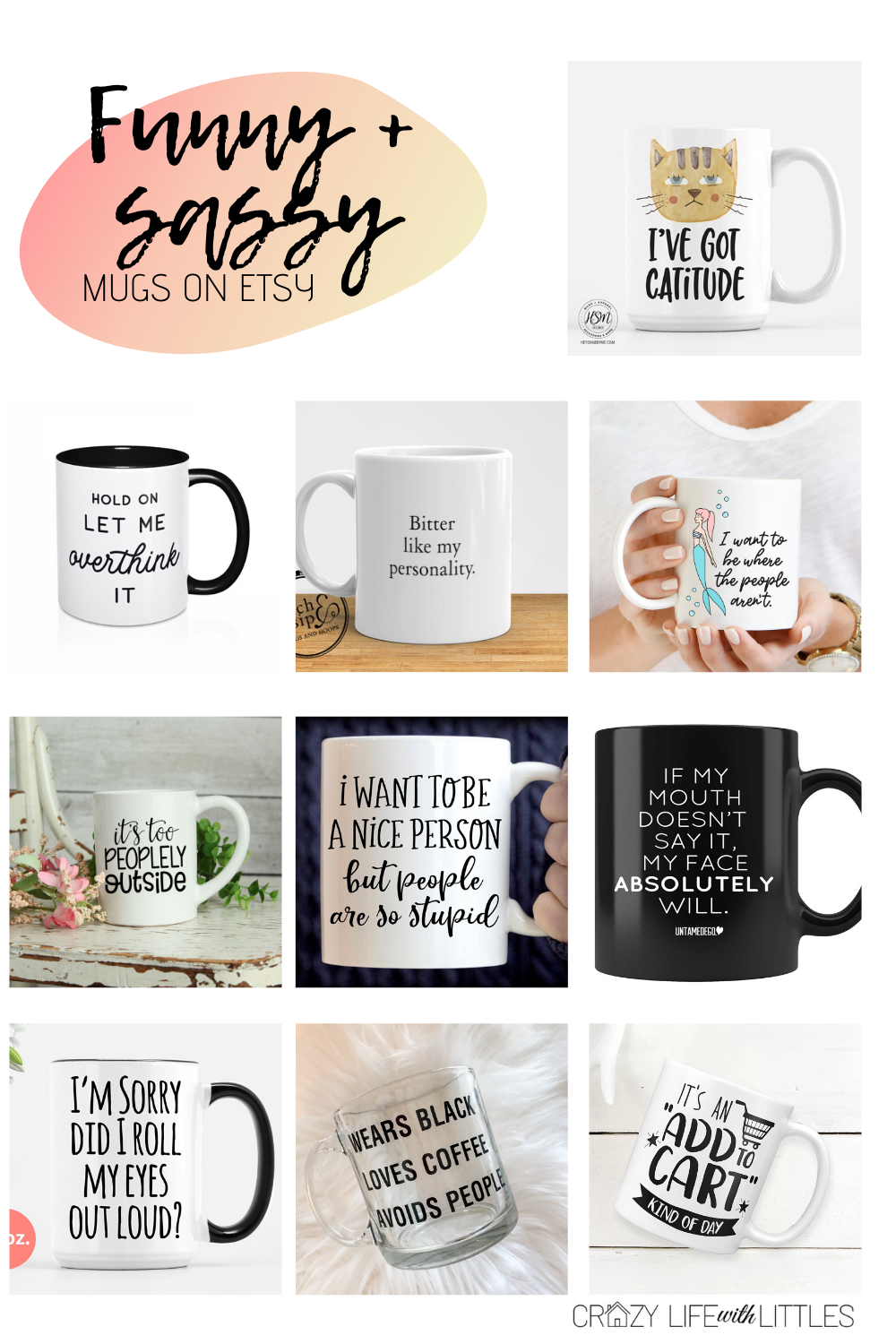 Funny Etsy Mugs, Wears Black Loves Coffee Avoids People, cat mugs, snarky mugs, funny mugs, sassy mugs