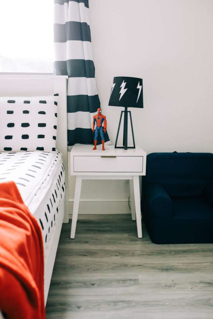 #herringbone #diy #wallpaper DIY Herringbone Sharpie Wallpaper in Modern Superhero Boys Bedroom, Neutral boys bedroom, Beddy's Zipper Bedding, Behr Black Magic