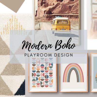 Modern Boho Playroom Mood Board