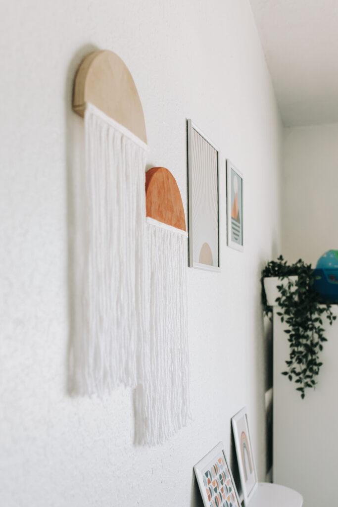 Wooden Round Fiber Art Wall Hanging