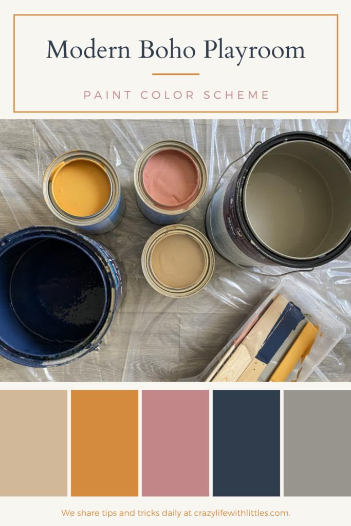Earthy color vibes for a modern boho playroom. Navy, hint of caramel, woven jute, ceremonial ochre, battleship grey paint colors