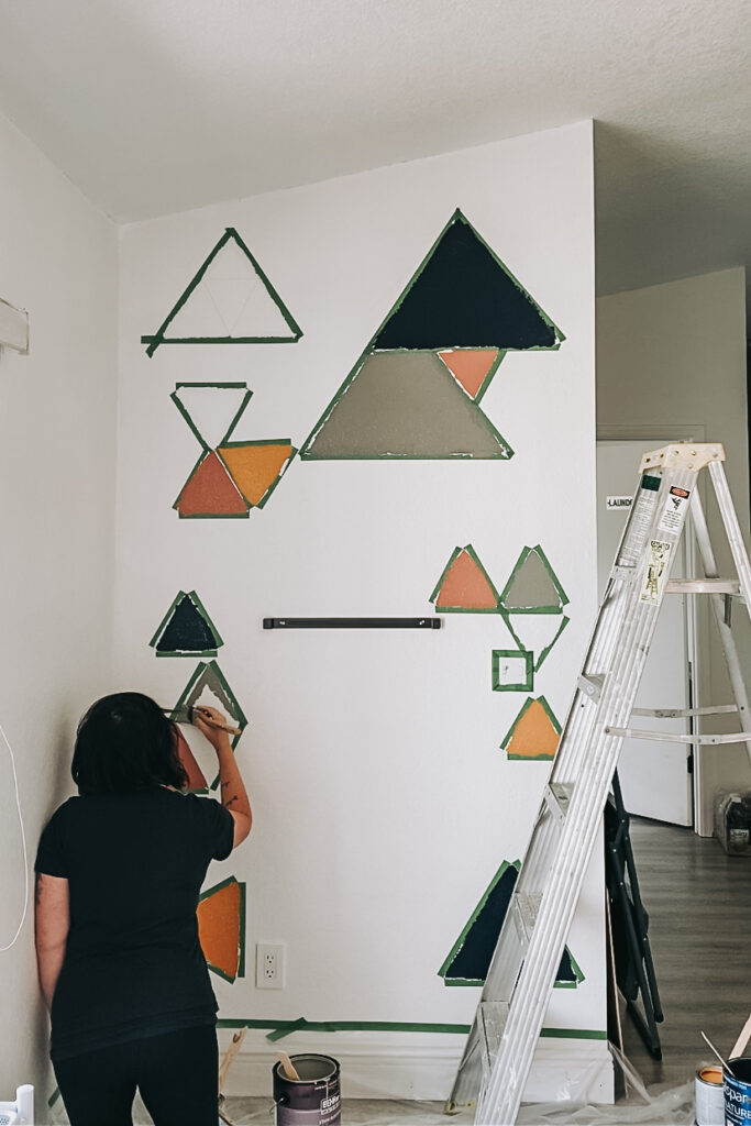 DIY Geometric Accent Wall in Playroom, Modern Boho Playroom Decor