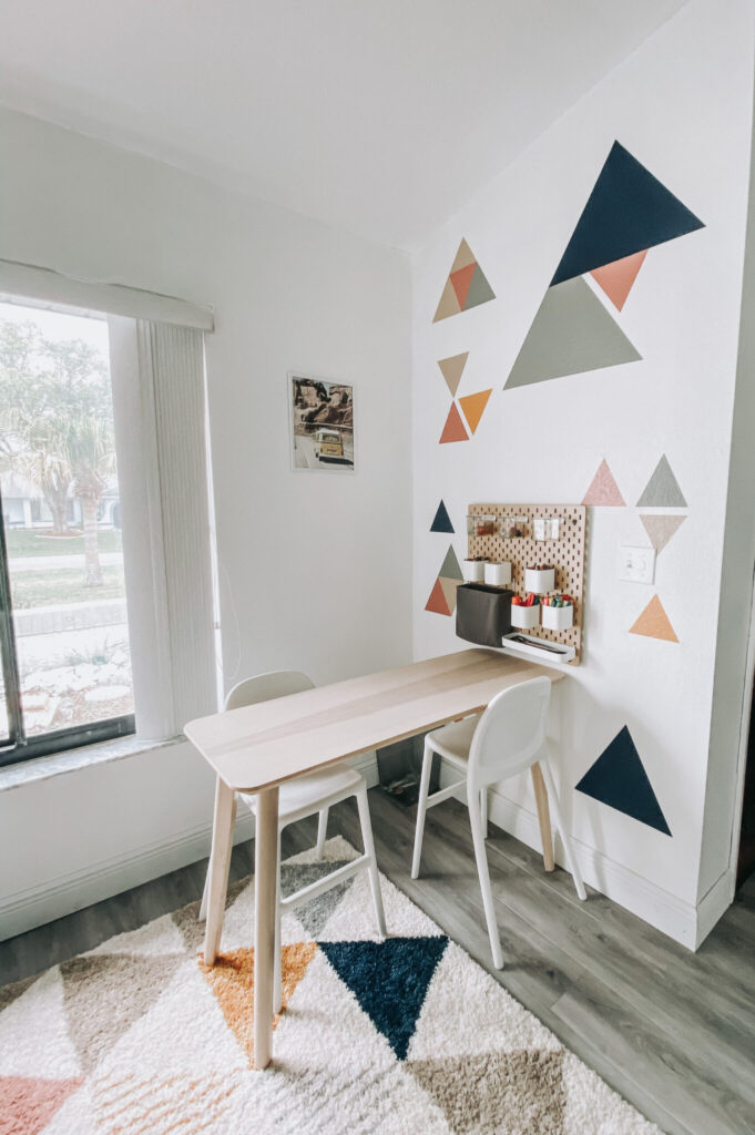 DIY Geometric Accent Wall in Playroom, Modern Boho Playroom Decor, Naval; Battleship Gray; Ceremonial Ochre; Hint of Caramel; Woven Jute