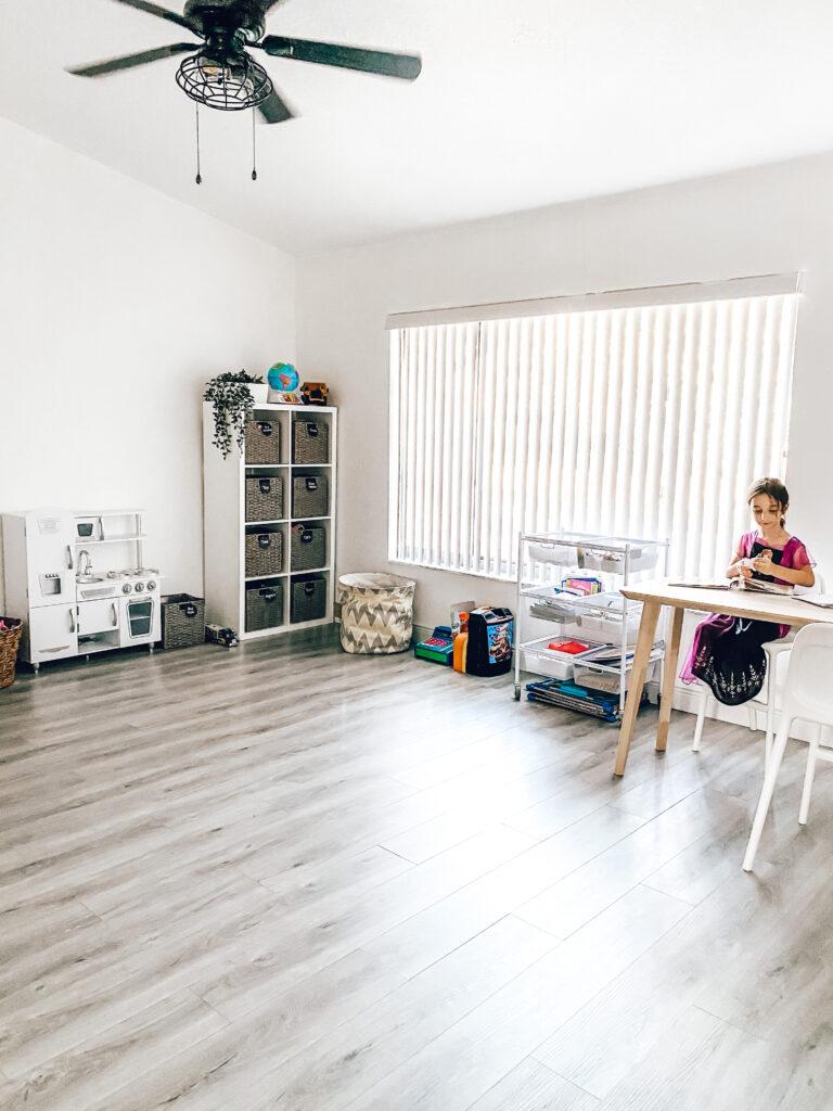 neutral playroom, modern farmhouse playroom, kidkraft vintage kitchen