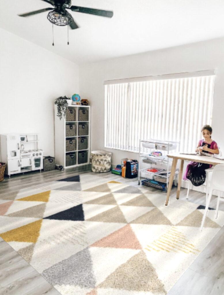 modern boho playroom design, modern Bohemian area rug for playroom