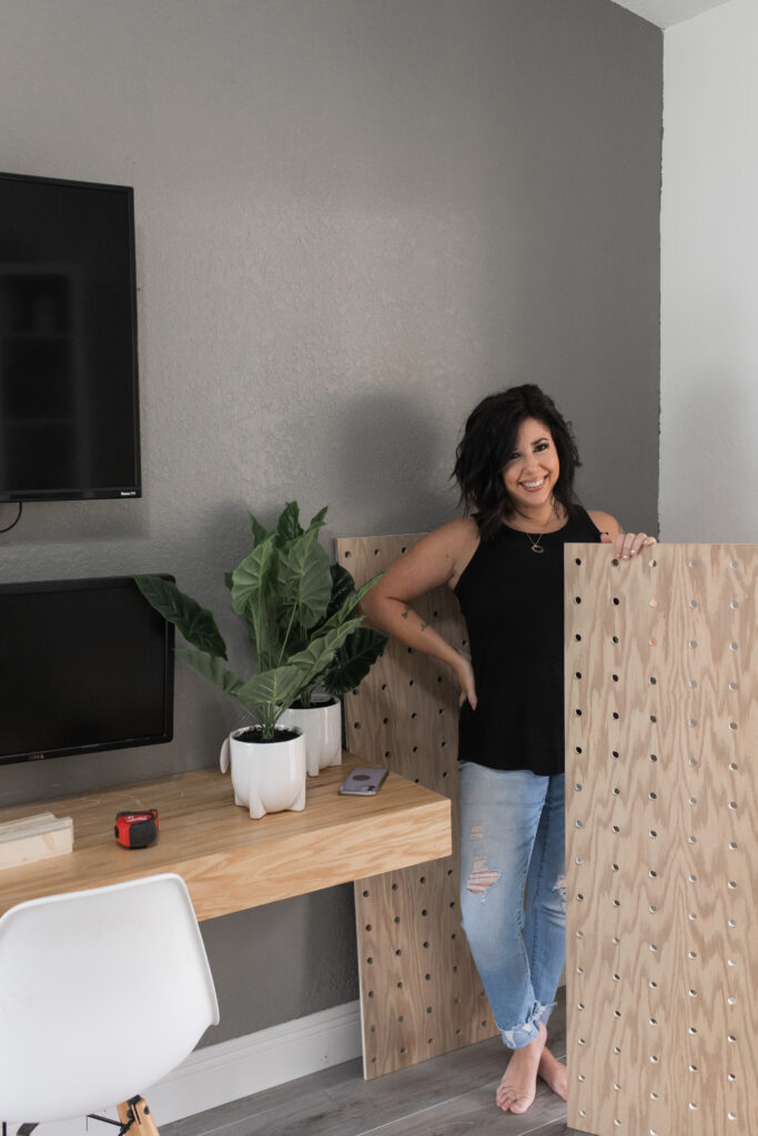 #diy #pegboard #homeoffice how to make and install a large pegboard out of plywood