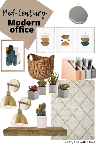 mid century modern home office design and mood board, Pegboards aren't just for garages and craft rooms. This DIY Pegboard was designed to be a functional and interesting wall element in our guest-office room.