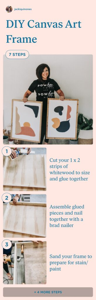 diy wood frame tutorial, canvas art frame, wood frame under $10, how to frame your art canvas for cheap
