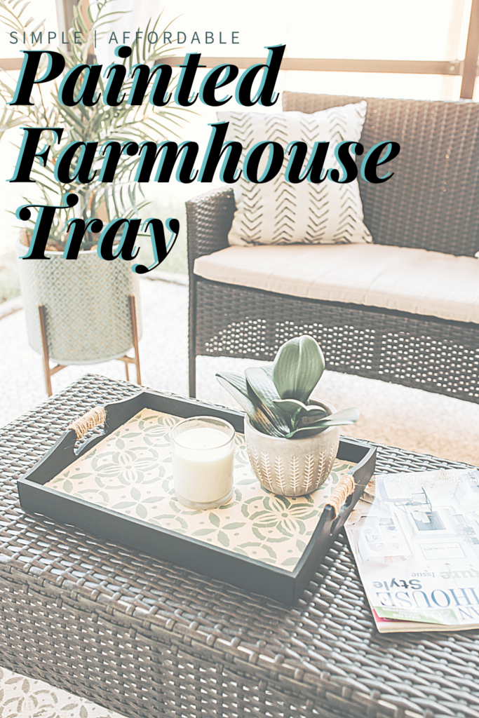 DIY Farmhouse Tray Makeover with Paint, #DIY #Farmhouse #craft #dollarstore Give an old (or new) wood tray life with paint