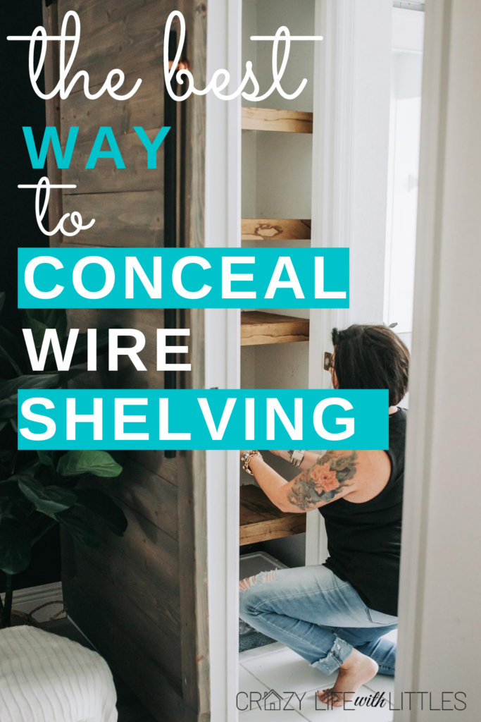 #fauxshelves #wireshelving #diyhack how to cover your existing wire shelving with faux floating shelves, renter friendly diy home project