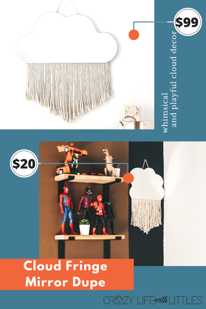 #potterybarnhack #macrame Create this Pottery Barn Inspired cloud fringe mirror with wood, macrame cord and adhesive mirror sheets for less