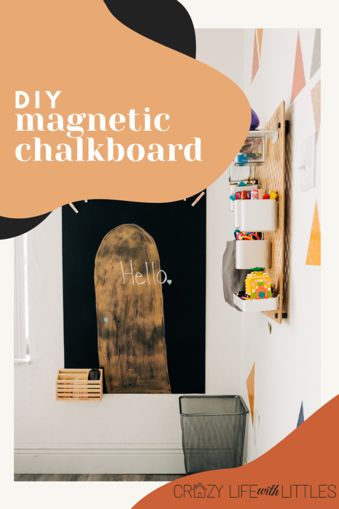 #magneticchalkboard #diy #homeschool Create your own DIY magnetic chalkboard for your homeschool room or playroom with a sheet of galvanized metal and Rust-oleum Imagine chalkboard spray paint.