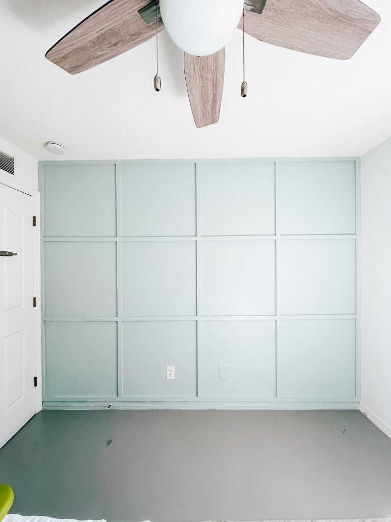 grid accent wall, modern wood trim accent wall, grid wall DIY, modern board and batten accent wall