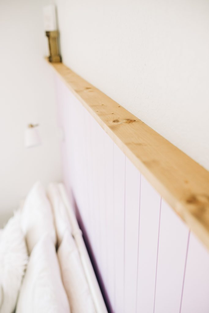 boho chic girl's bedroom makeover with vertical shiplap and photo ledge