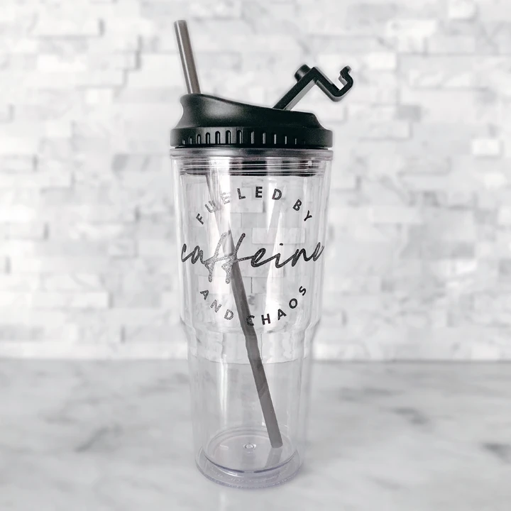 iced coffee large tumbler with straw