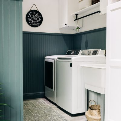 DIY Painted Laundry Room Beadboard Walls