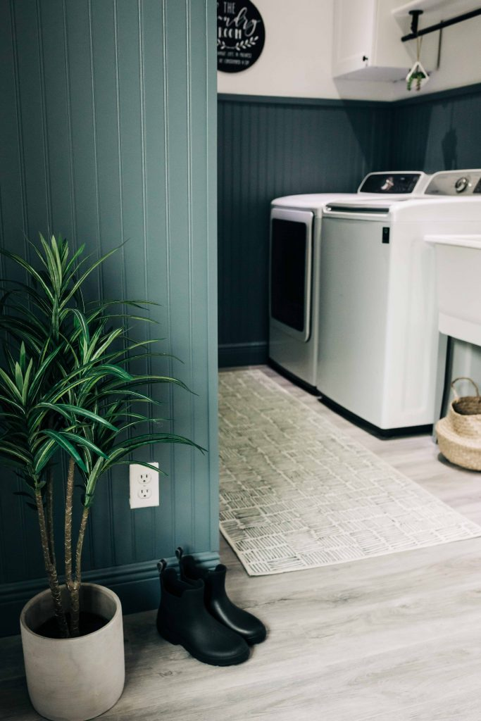 #ad painted beadboard walls, diy beadboard laundry room, laundry room accent wall, Clark+Kensington 2021 Color Trends palette from Ace Hardware, Gothic Iron gray paint color with blue undertones.