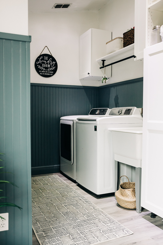 #ad diy painted beadboard walls in laundry room, laundry room accent wall, Clark+Kensington 2021 Color Trends palette from Ace Hardware, Gothic Iron gray paint color with blue undertones.