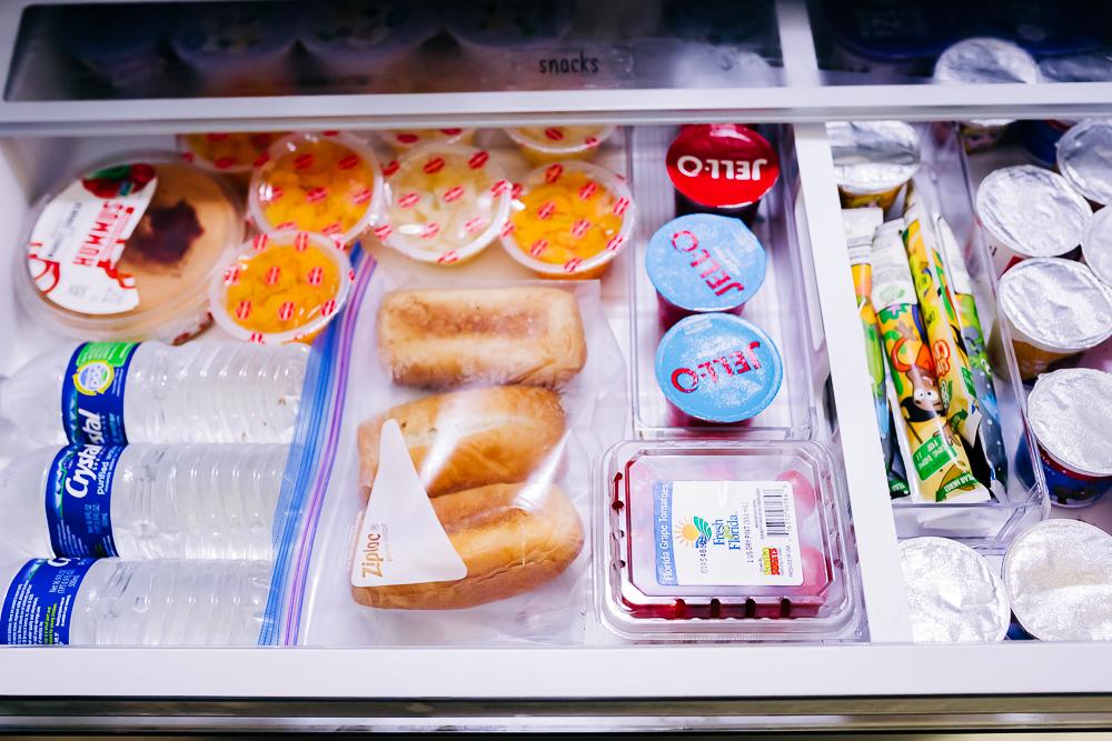 snack station fridge organization