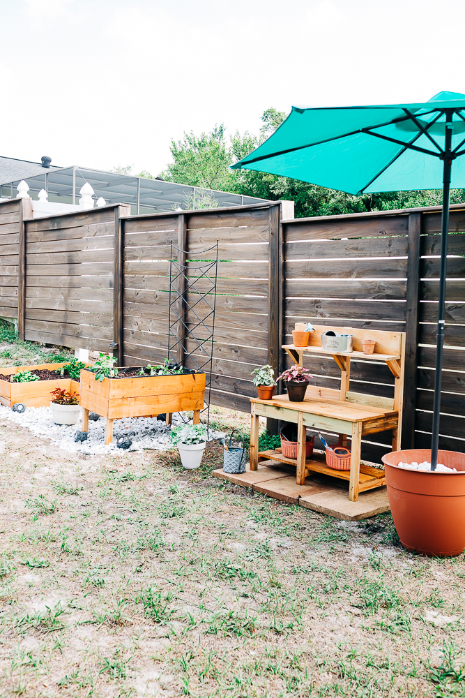 DIY raised garden bed, herb and vegetable garden, herb garden, backyard garden and kids potting bench