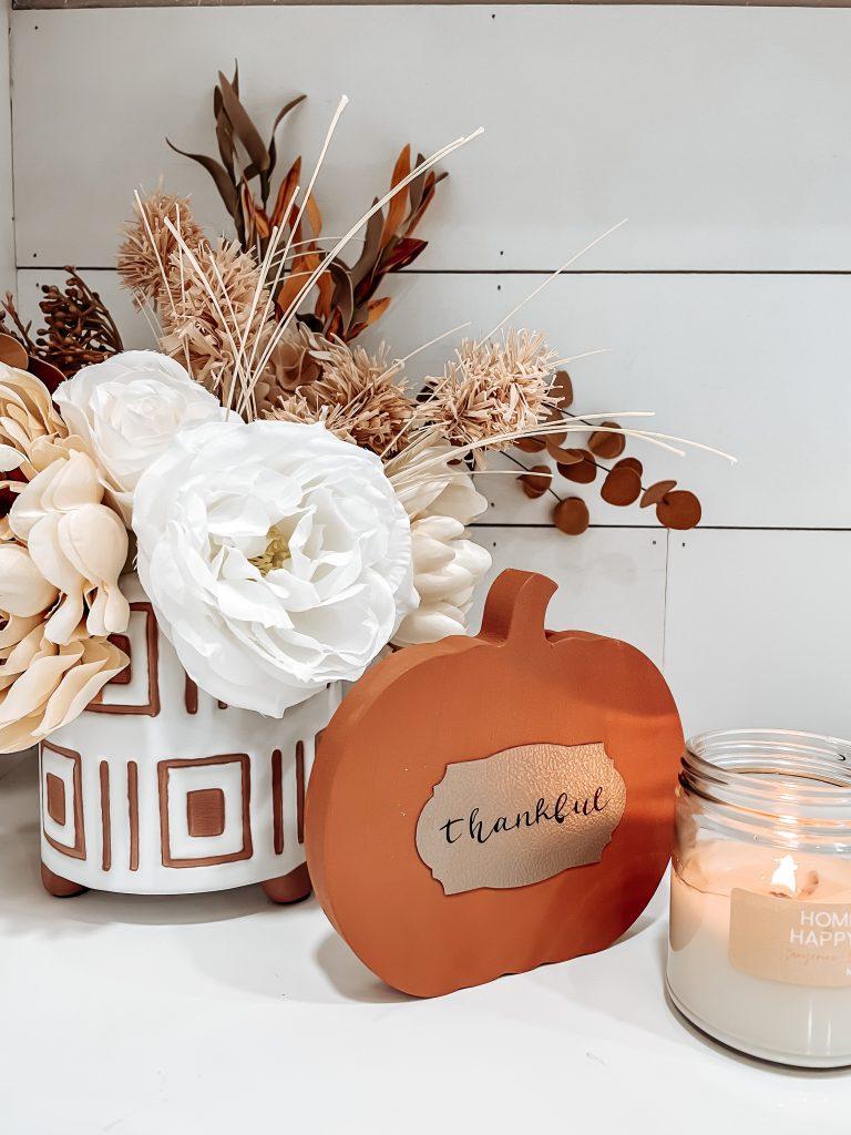 wood pumpkin decor for fall; block pumpkin with leather; thankful pumpkin; diy cricut crafts for fall