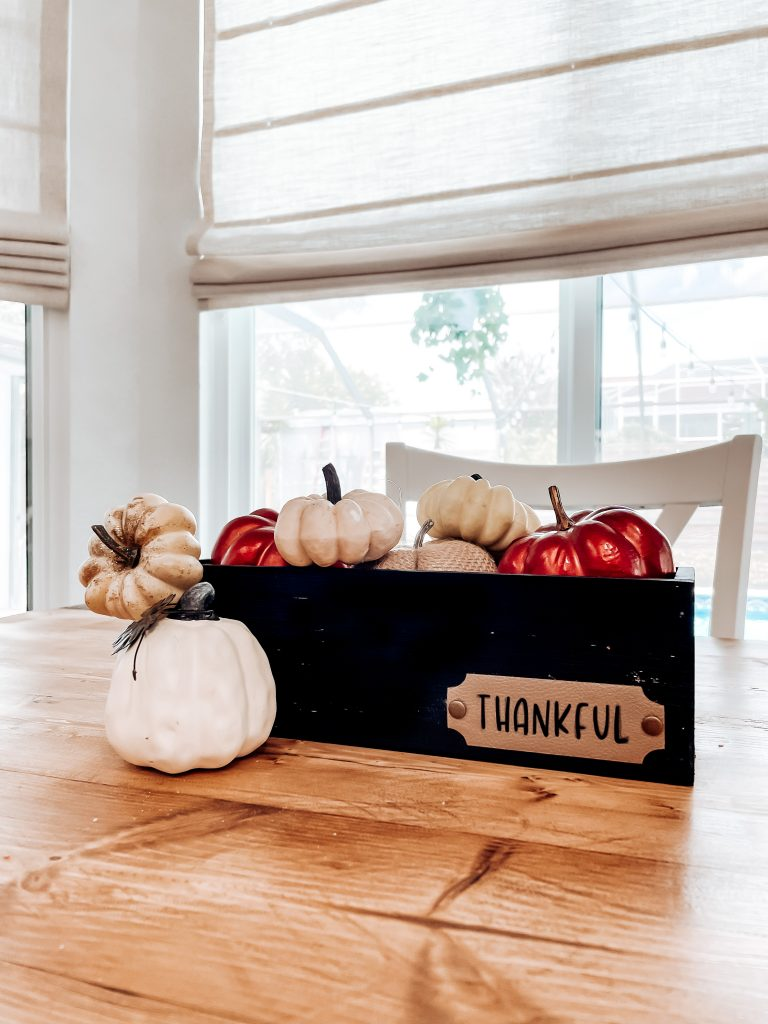 fall centerpiece box; cricut crafts with faux leather; thankful home decor box centerpiece with fall pumpkins