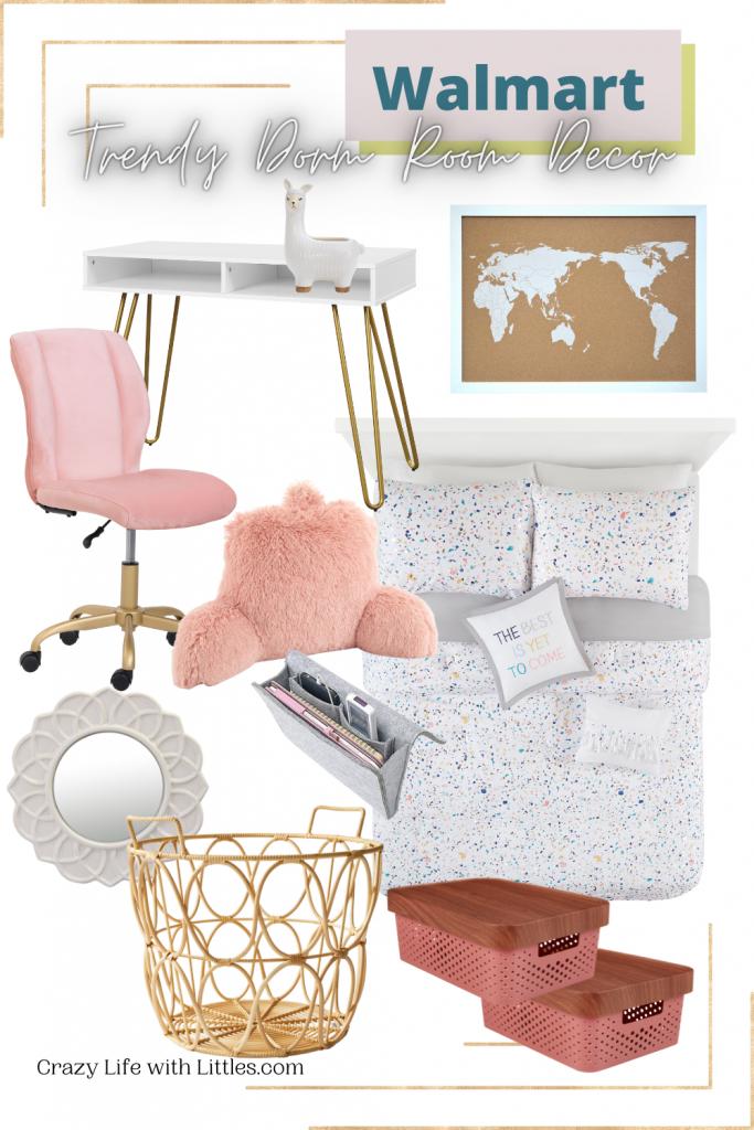 tween bedroom refresh; walmart home wow and now section; trendy dorm room decor