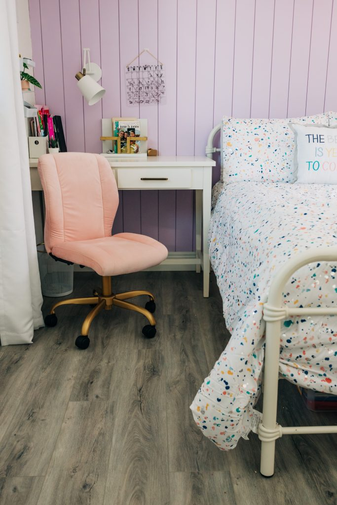 girls desk with pink and gold chair, walmart home finds, girls bedroom with desk